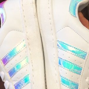 Holographic shimmer white adidas fashion sneakers